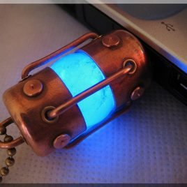 Handmade 8/16/32/64/128GB BLUE ARC USB flash drive with natural quartz gemstone. Steampunk