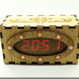 Wooden LED Clock, Thermometer and Date All in One. Steampunk/Fallout gadget