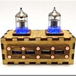 Wooden BLUE Double Pentode Radio Tubes 4 ports USB HUB with vintage Ussr quality sign. Industrial/Fallout style