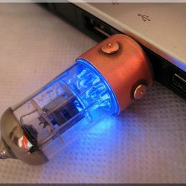 Handmade 8/16/32/64/128GB BLUE Pentode USB flash drive with stand. Steampunk/Industrial