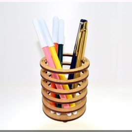 "Wooden Pen Pencil Holder ""Round"". Desk Organizer, Wood Desk Storage, Desk Organizer, Office Organization, Pen cup. ""Skeleton"" series."