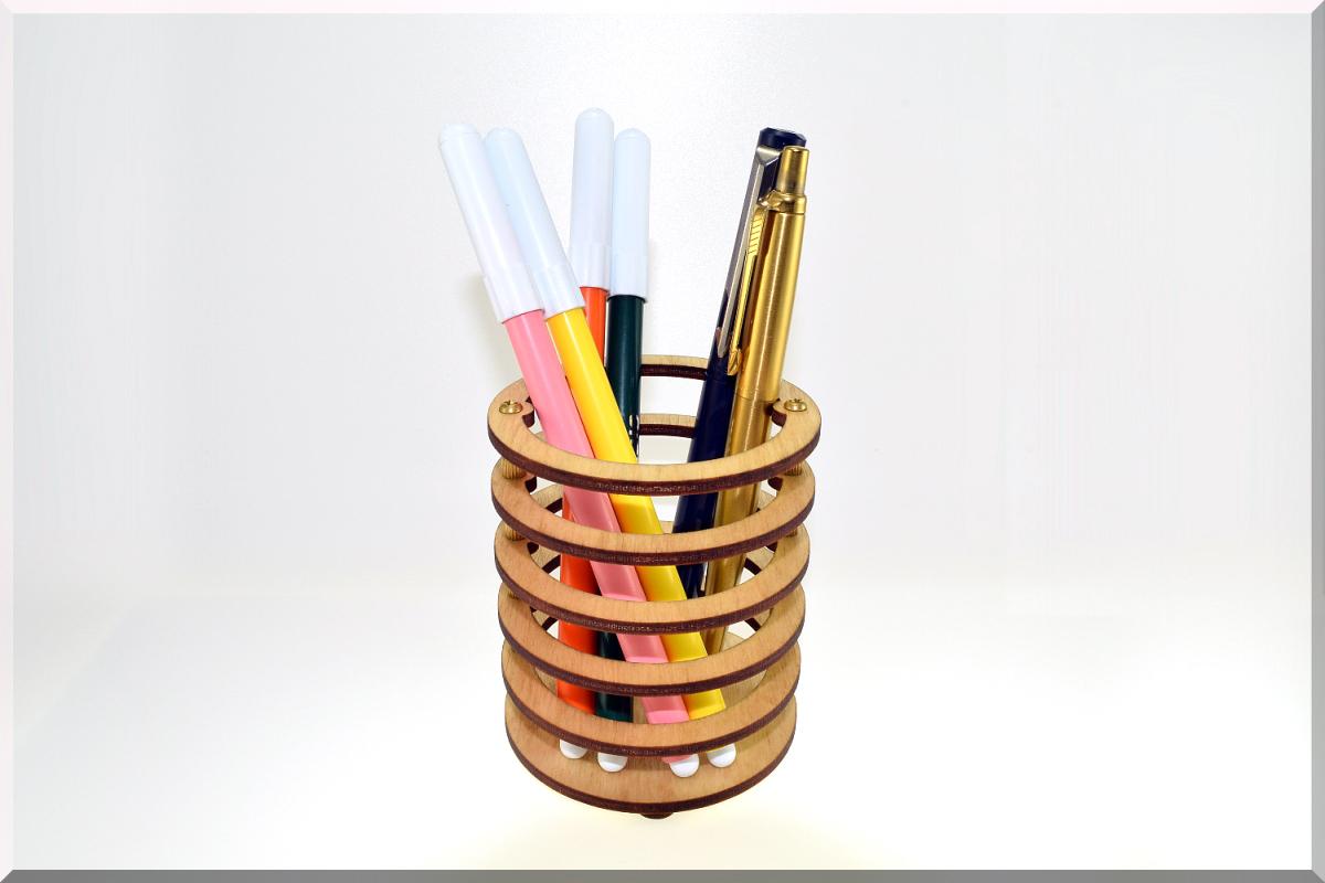 Wooden Pen Pencil Holder Round Desk Organizer Wood Storage Office Organization Cup Skeleton Series