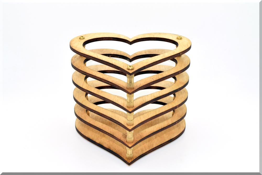 Wooden Pen Pencil Holder Heart Desk Organizer Wood Storage Office Organization Cup Skeleton Series